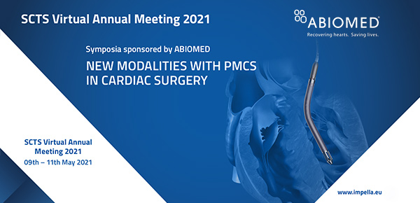 "Save-the-Date: 09. - 11.05.2021 ABIOMED Symposium Virtual SCTS Congress ""New modalities with PMCS in cardiac surgery"" thumbnail image"