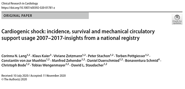 Cardiogenic Shock: incidence, survival and mechanical circulatory support usage: 2007 - 2017 - insights from a national registry thumbnail image